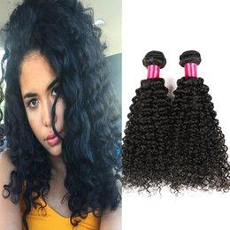 Wholesale European Hair Extentions - 7A Brazilian Kinky Curly Virgin Human Hair Weave 100% Unprocessed Brazilian Peruvian Malaysian Human Hair Natural Human Hair Extentions