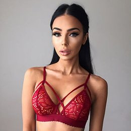 Wholesale Sexy Lingerie Full Dress - 2017 Sexy Fashion Women lace Lingerie Floral Sheer Lace Triangle Bralette Underwear Bra Crop Top Sleep Dress unpadded bra