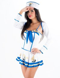 Wholesale Navy Dress Uniform - Fantasia Marinheira Makin Waves 3 Piece Set Sexy Sailor Girl Ladies Female Fancy Dress Costume Uniform Adult Navy Costume W328335