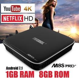 Wholesale Internet Hd - MECOOL S905X Smart TV Box Android 7.1 Quad Core 1GB 8GB Internet Tv Box Stalker Youtube 4K Netflix HD 1080P Media Player