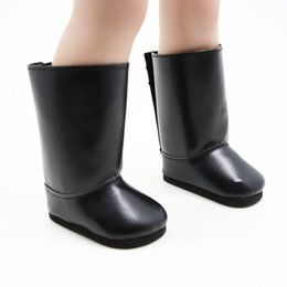 """Wholesale American Girl Black Boots - free shpping pu Shoes for 18"""" American Girl Doll plush black boots"""