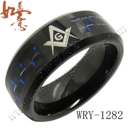 Wholesale wholesale masonic rings - Black and Blue Carbon Fiber Inlay Black Tungsten Ring Bands for Men with Masonic Engraving WRY-1282 8mm width