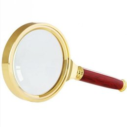 Wholesale Magnifying Glass Gold - 60x150mm 90x185mm Metal Handheld 10X Magnifier Magnifying Glass Loupe Reading Jewelry Gold
