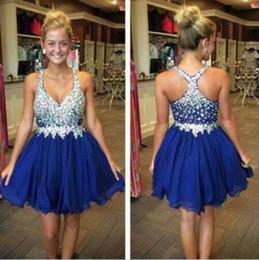 Sparkly Royal Blue Short Homecoming Dresses V-Neck Crystals Beaded Ruffles  Junior 8th Grade Graduation Party Prom Dress Cheap 2017 bd3f52ed0