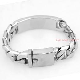 Wholesale Mens Gold Id Bracelets - 17MM Mens Chain Boys Stainless Steel bracelet Curb Silver Gold Tone Jesus ID Bracelet 2 Options Wholesale Jewelry Gift