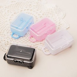 Wholesale white wedding candy - Acrylic Clear Mini Rolling Travel Suitcase Candy Box Baby Shower Wedding Favors Party Table Decoration Supplies Gifts +DHL Free Shipping