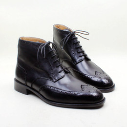 Schwarze malen schuhe männer online-Herren Stiefel Custom handgemachte Schuhe aus echtem Kalbsleder Runde Zehe Lace-up Hand bemalt atmungsaktiv Farbe schwarz Mode Stiefel HD-B032