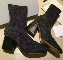 Wholesale Ladies Shoes Short Heel - Women Mid Calf Stretchy boots ladies slip on Heels Boots Fashion sequined Ankle Boots cheap short shoes