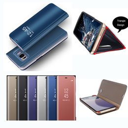 Wholesale Sleep Cover Flip Iphone - For iPhone 7 6 Plus Clear Smart Kickstand Mirror View Flip Stand Cover Holder Phone Case Sleep Wake Phone Case For Samsung S8 Plus s7 Edge
