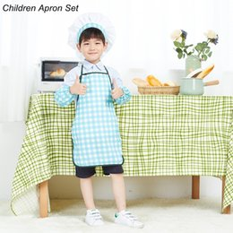 Wholesale Wholesale Aprons For Kids - Blue and Green Squares Children kids Chef Hats and Aprons for Kitchen Cooking Kindergarten Playing Painting