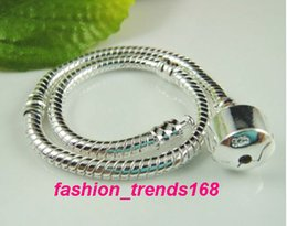 Wholesale Dangle Beads For European Charms - 16-20cm European Charms Snake Chain Silver Plated Bracelet Fit Pandora 925 Stamped Bracelets Wholesale Fit For European Beads Charms Dangles