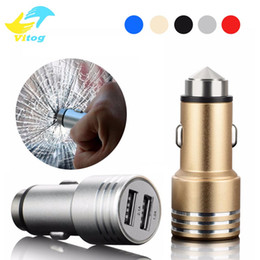 Wholesale mini usb car charger adapter - Safty Hammer Auto Universal Metal Dual 2 Port USB Car Charger 5V 2.1A Mini Car Charger Adapter Emergency Hammer For iPhone Samsung