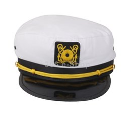 Wholesale Hat Cap Captain - Wholesale-Fashion Yacht Captain Skipper Sailor Boat Ship Hat Cap Costume Party WHITE