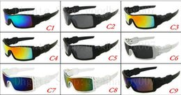 Wholesale Rainbow Sunglasses - 20Pcs lot Luxury Rainbow Lens Sport Sunglasses Men's Outdoor Protection Oil Rig Sunglass Free Shipping Mix color order.