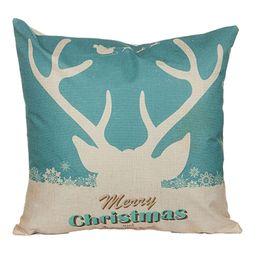 Wholesale Xmas Bedding - 5 Styles Recindeer Christmas Santa Claus Linen Cotton Blend Pillowcase Reindeer Sofa Pillow Covers Home Car Bed Office Chair Xmas Pillowcase