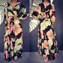Wholesale Long Summer Womens Cotton Dresses - new 2017 summer fashion women sexy dresses party night club dress floral print bodycon elegant womens casual maxi dresses MQ583