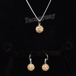 Wholesale Crystal Ball Necklace Champagne - Champagne Disco Ball Pendant Earrings And Necklace Jewellery Set For Women 10 Sets Wholesale