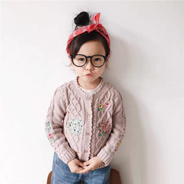 Wholesale Lace Collar Sweater Girls - Children Autumn cardigan Girls floral embroidery knitting sweater Kids Twist lace wavy collar single-breasted outwears Kids clothes