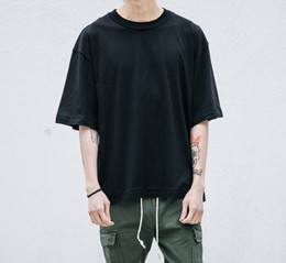 Wholesale Plain White T Shirts Man - TOP man streetwear justin bieber t shirt urban clothing kanye west plain white grey black oversized shirts blank tee fear of god