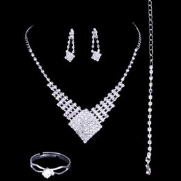 Wholesale Bridal Jewellery Sets Rhinestone - 2016 Luxury Wedding Jewellery Sets Rhinestone Bridal Accessories Necklace Earrings Rings Accessories Four Pieces Cheap Fashion Style Hot