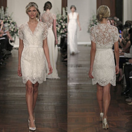 Wholesale Cheap Sexy Mini Wedding Dresses - 2016 A Line Beach Wedding Dresses Summer Bridal Gowns A Line V Neck Short Sleeve Ivory Lace Tulle Zipper Back Beads Cheap