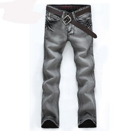 Wholesale Jeans Water - New Arrival Fashion Men's Jeans Slim Water-washed Straight Pants Light Gray Wholesale