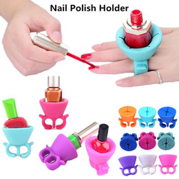 Wholesale Nail Displays - Nail Polish Holder Art Display Ring Style for UV Gel Varnish Wearable Silicone Stand Tip Support Manicure mix colors