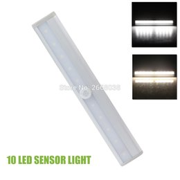 Wholesale wireless motion sensor switch - Wholesale- 10 LED IR Infrared Motion Detector Wireless Sensor Closet Cabinet Light Lamp Battery Powered Sensor Bar Light Auto PIR Lamp