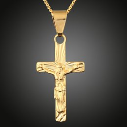 Wholesale Brass Cross Charms - Never Rust Christianity Christianism Jesus Pendant Christian Religion Nazarene Pray Brass Plated Gold Cross Charm for Necklace