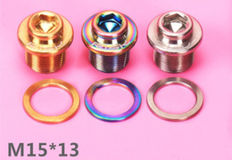 Wholesale Titanium Screw Bicycle - Wholesale-2pcs M15x13mm Bicycle Crank Arm BB Bolt Ti Titanium screw fit for Splined ISIS BB Axis with Washer