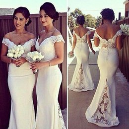 Wholesale Sale Wedding Dresses Fast - Hot Sale 2016 Mermaid Long Bridesmaid Dresses Special Off the Shoulder Backless Cheap Girls Wedding Party Gowns Fast Shipping