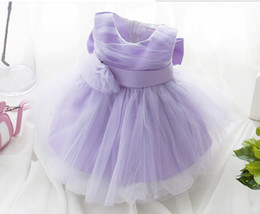 Wholesale Pretty Girls Clothes - New Children pretty girl Lace princess dress summer Tutu dress with bowknot baby clothing white purple free shipping C892