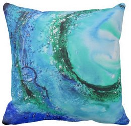 Wholesale Fine Wave - Ocean lover fine art wave blue green throw pillow 50% cotton and 50% linen material color as shown 16x16inch 18x18inch 20x20inch