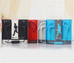 2019 il mic del bluetooth migliore La migliore vendita BT-1 Auricolare Bluetooth Sport Earbuds Auricolari Stereo Over-Ear Wireless Neckband Cuffie con microfono Spedizione gratuita il mic del bluetooth migliore economici