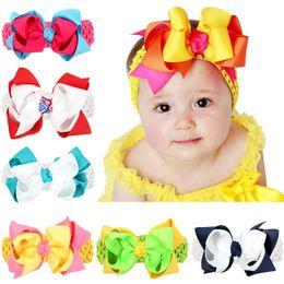 "Wholesale Double Grosgrain Bow - Newest Baby Headbands Big Bows Double Layers Baby Kids 5"" big Grosgrain Ribbon Bowknot Wide Crochet Headband girls hair accessories KHA186"
