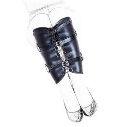 Wholesale Sex Women Black Leather - Free Shipping Black Adjustable Women Bondage Calf Restraint , Fetish Leg Binder,Leather Role Play Sex Products