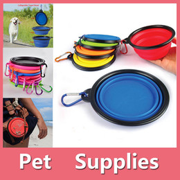 Wholesale Feeding Cats Dog Food - 1PC Travel Portable Collapsible Pets Cat Dog Food Water Feeding Bowl Dish Feeder With 8 Colors