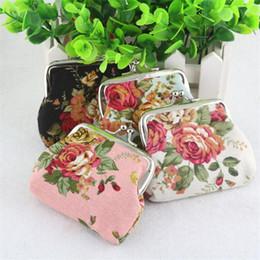 Wholesale Skull Rose Bag - Rose flower Canvas Mini Coin Purse hasp Vintage flower women clutch delicate coin bag children cute money bag key holder 4 colors W610