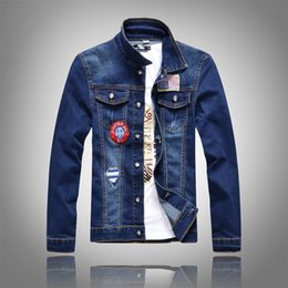 Wholesale Short Sleeved Beige Jackets - Wholesale- 2017 Mens jackets coats high quality men's male holes long sleeveman denim jacket long sleeved Stick cloth patch denim jacket