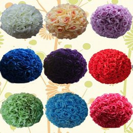 "Wholesale Kissing Balls Flowers - 16"" 40CM Upscale Wedding Kissing Balls Artificial Encryption Rose Decorative Flower Ball for Wedding Festival Celebration Decorations"