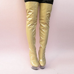 Wholesale Sexy Long Boots For Women - Ultra 15cm Sexy Over-The-Knee Boots Fashion Soft PU Leather Thigh High Boots Sexy Long Boots For Women