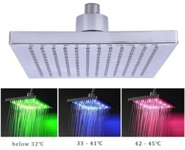 Wholesale temperature changing shower head - 8-inch Square Temperature Sensitive Rainfall LED Shower Head Power from Water Flow 3 Color Change Shower Head With LED Light