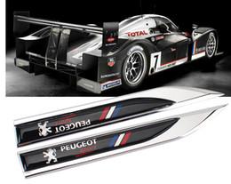 Wholesale Emblem Badge Sport - 2Pcs Peugeot sport motors blade decal landmark 3D Logo Emblems Badge car metal stickers