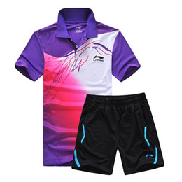 Wholesale Sport Tennis Clothe - New Li Ning sports series wicking breathable clothing badminton men's t-shirt table tennis clothes suit (shirt+shorts)