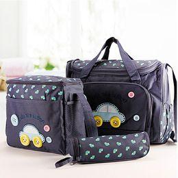 Wholesale Diaper Bag Change - 4 Pcs  Set Cartoon Car Beetle Travel Baby Diaper Bags Waterproof Nappy Bags Multifunctional Changing Messenger Bag   Tote Bags