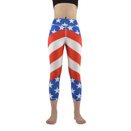 Wholesale Flag Print Leggings - Women Sport Leggings Flag Printed Stars Yoga Pants Running Fitness Gym Tights Pants Women Jogger Pants Leggings GL-040