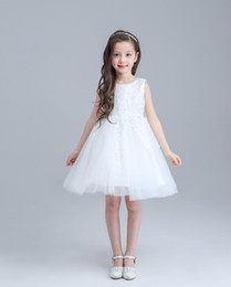 Wholesale Chiffon Wedding Dress Layers - EMS DHL Free Flower Girls Dresses for Weddings Chiffon White Bow Layers Sleeveless Kids Evening Gowns Girl Wedding Dresses For Wholesale