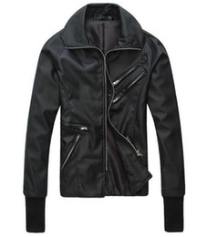 Wholesale Korean Singer Fashion - Men in Spring metrosexual leather motorcycle leather coat UK plug part fitted leather jacket Korean singer costumes