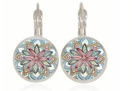 Wholesale Glass Gemstone Earrings - New arrival Earrings for women Time gemstone henna earrings original vintage glass ear hook free shipping