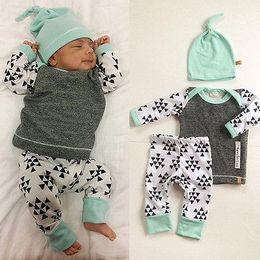 Wholesale Girls E Clothing - Wholesale- 3 PCS Newborn Baby e suit kids Girls Boys Clothes Long Sleeve T-shirt Tops Pants Hat Outfit